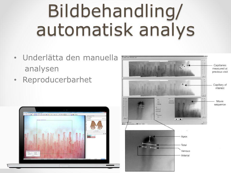 Bildbehandling/ automatisk analys Underlätta den manuella analysen Reproducerbarhet