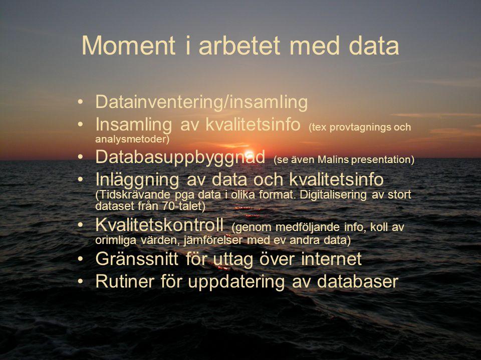 Moment i arbetet med data Datainventering/insamling Insamling av kvalitetsinfo (tex provtagnings och analysmetoder) Databasuppbyggnad (se även Malins presentation) Inläggning av data och kvalitetsinfo (Tidskrävande pga data i olika format.