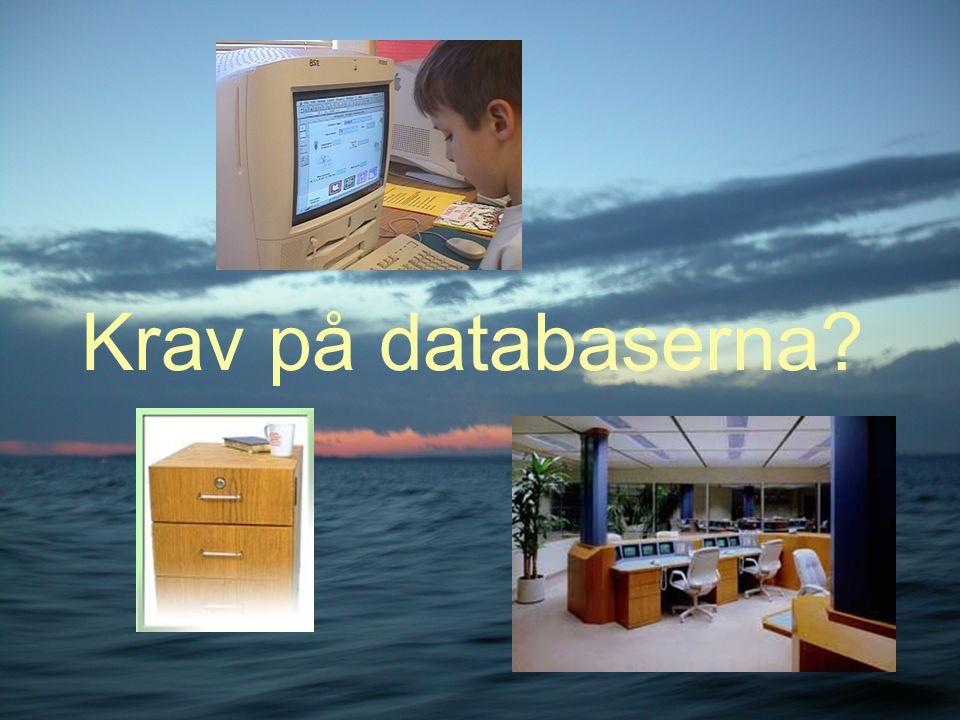 Krav på databaserna?