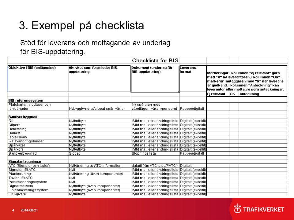 42014-08-21 3. Exempel på checklista Stöd för leverans och mottagande av underlag för BIS-uppdatering.