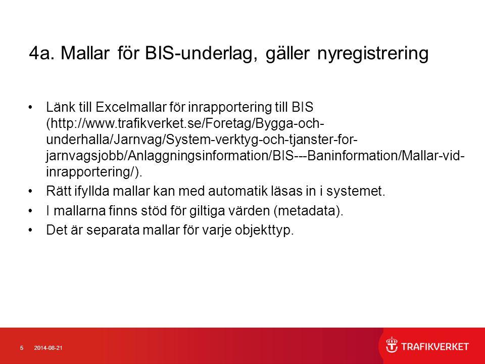 52014-08-21 4a. Mallar för BIS-underlag, gäller nyregistrering Länk till Excelmallar för inrapportering till BIS (http://www.trafikverket.se/Foretag/B