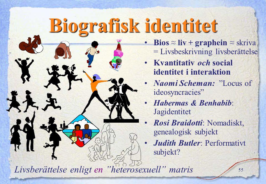 54 Kvalitativ eller social identitet Pekas ut som hörande till den eller den (stereotypa) gruppen, eller Identifiera mig med x, y z.. idem = själv fac