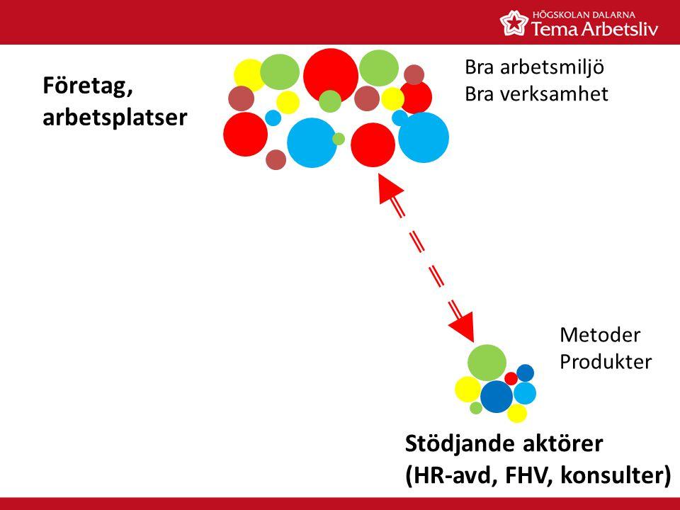 Stödjande aktörer (HR-avd, FHV, konsulter) Företag, arbetsplatser Bra arbetsmiljö Bra verksamhet Metoder Produkter
