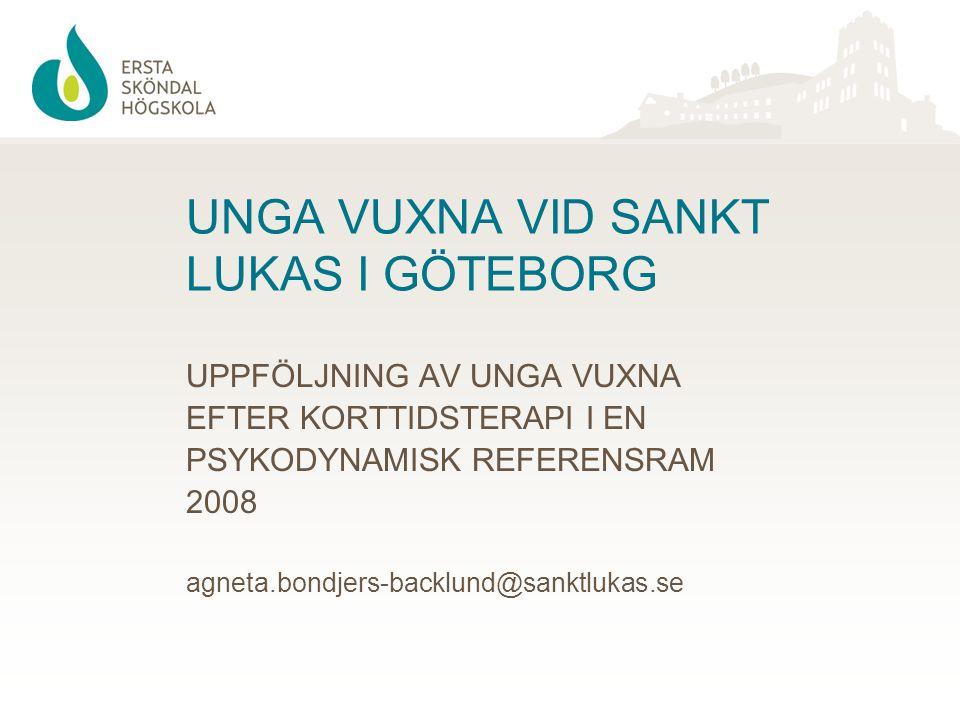 Deltagare i utvärderingen 77 ( av 85 erbjudna) Unga Vuxna fick 15 timmars korttidsterapi till reducerad kostnad (300 kr/session)under 2006 – 2008.