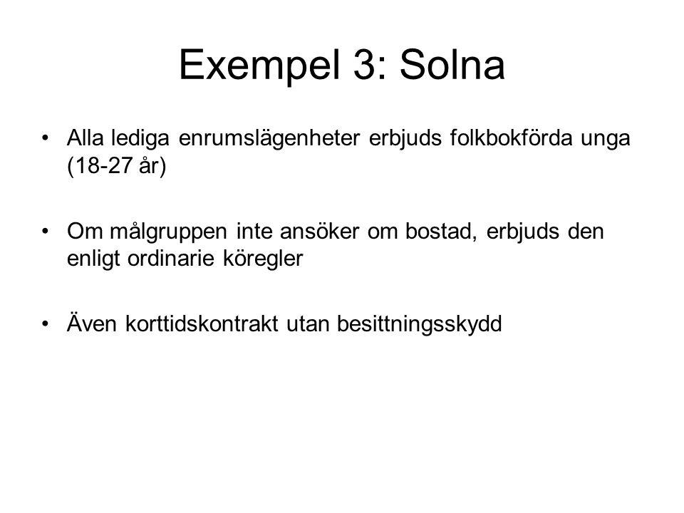 Exempel 3: Solna Alla lediga enrumslägenheter erbjuds folkbokförda unga (18-27 år) Om målgruppen inte ansöker om bostad, erbjuds den enligt ordinarie