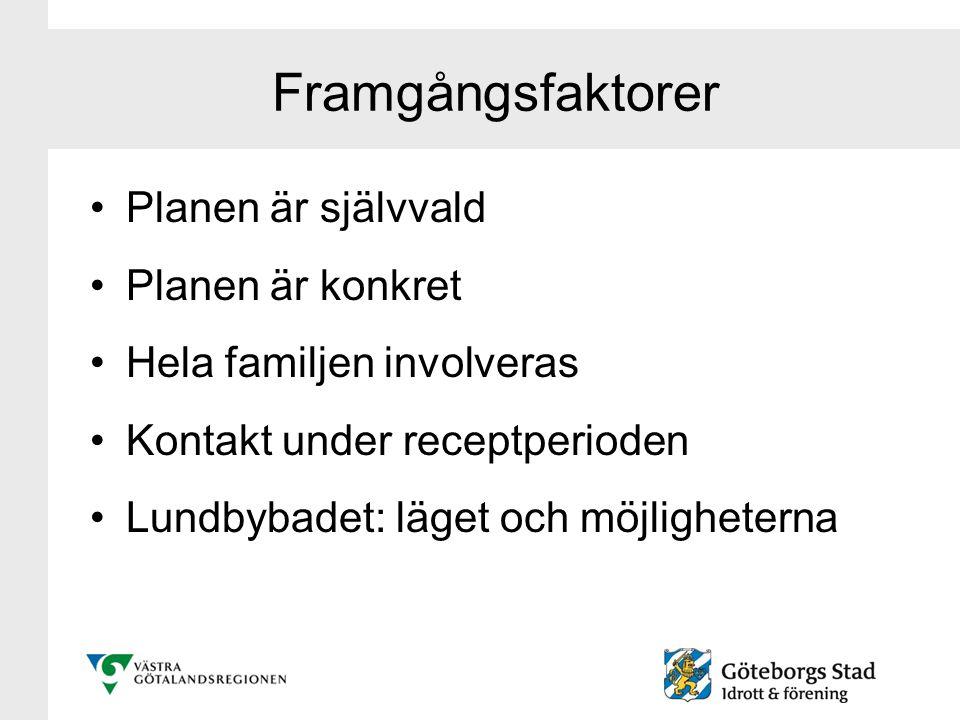 Framgångsfaktorer Planen är självvald Planen är konkret Hela familjen involveras Kontakt under receptperioden Lundbybadet: läget och möjligheterna