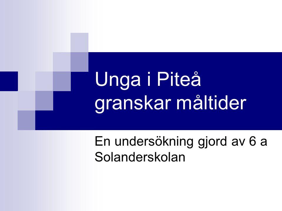 Unga i Piteå granskar måltider En undersökning gjord av 6 a Solanderskolan