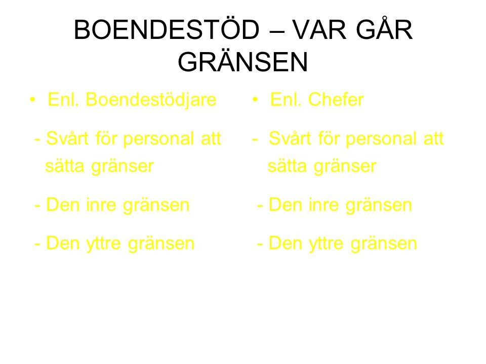 BOENDESTÖD – VAR GÅR GRÄNSEN Enl. Boendestödjare - Svårt för personal att sätta gränser - Den inre gränsen - Den yttre gränsen Enl. Chefer - Svårt för