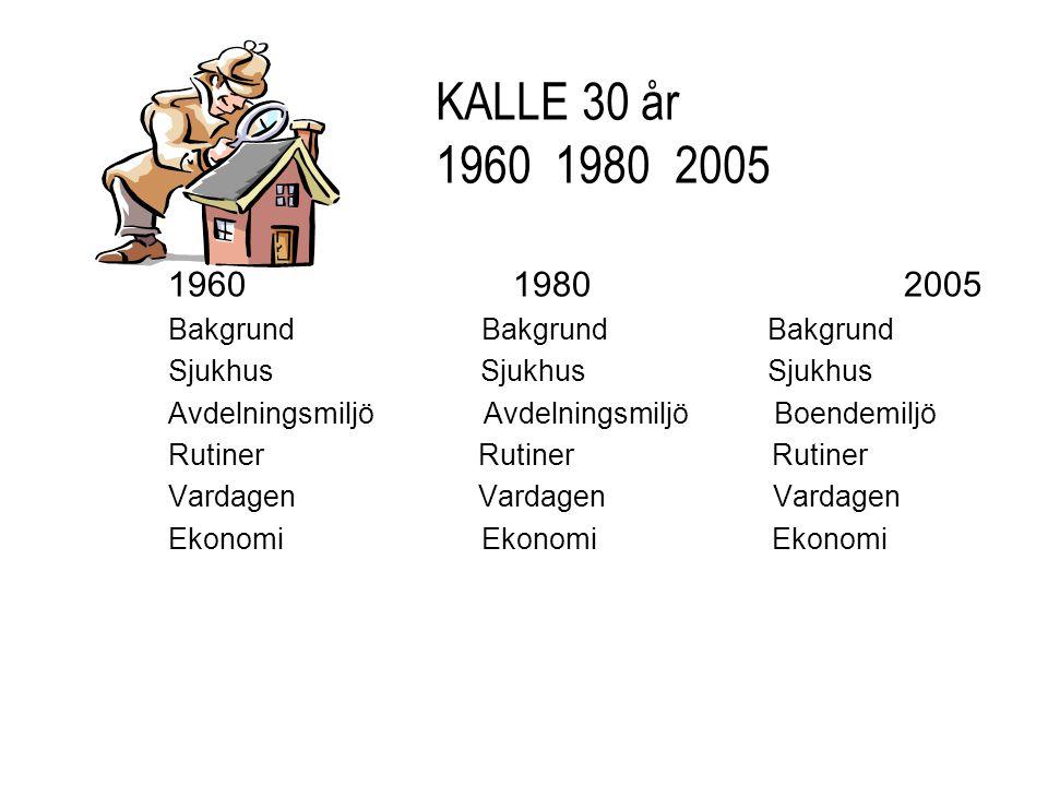 1960 1980 2005 Bakgrund Bakgrund Bakgrund Sjukhus Sjukhus Sjukhus Avdelningsmiljö Avdelningsmiljö Boendemiljö Rutiner Rutiner Rutiner Vardagen Vardage