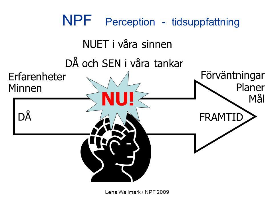 Lena Wallmark / NPF 2009 Erfarenheter Minnen Förväntningar Planer Mål DÅ FRAMTID NUET i våra sinnen DÅ och SEN i våra tankar NU! NPF Perception - tids