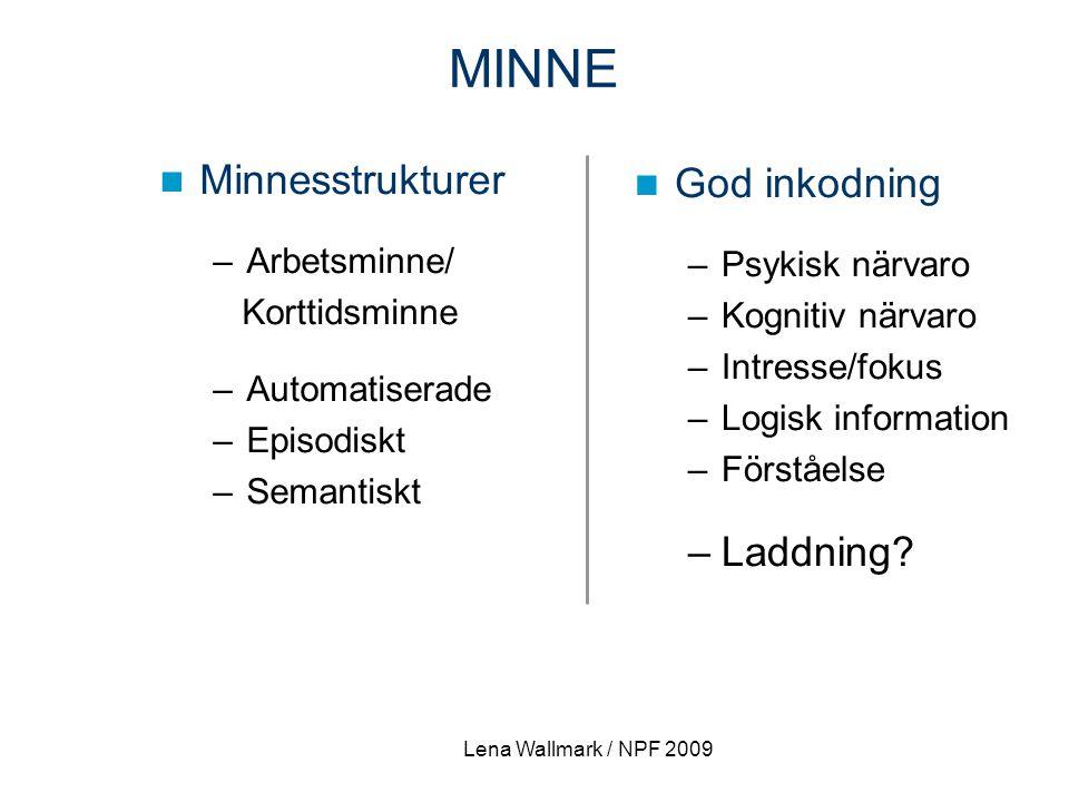 Minnesstrukturer –Arbetsminne/ Korttidsminne –Automatiserade –Episodiskt –Semantiskt God inkodning –Psykisk närvaro –Kognitiv närvaro –Intresse/fokus