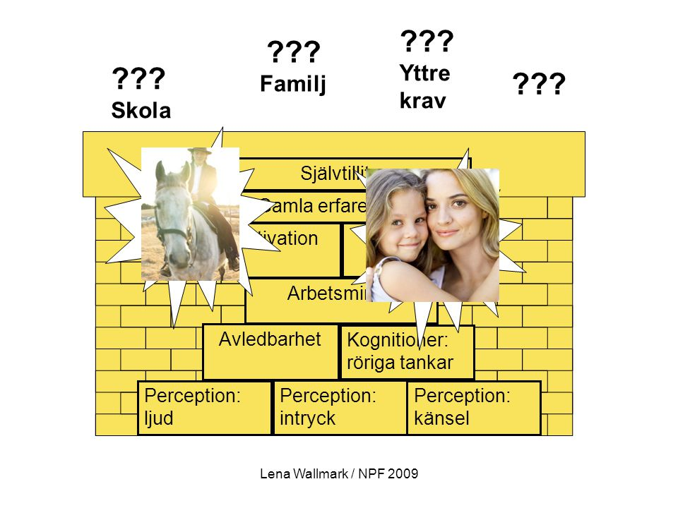 ??? ??? Yttre krav ??? Familj ??? Skola Arbetsminne Perception: ljud Perception: intryck Kognitioner: röriga tankar Perception: känsel Gamla erfarenhe