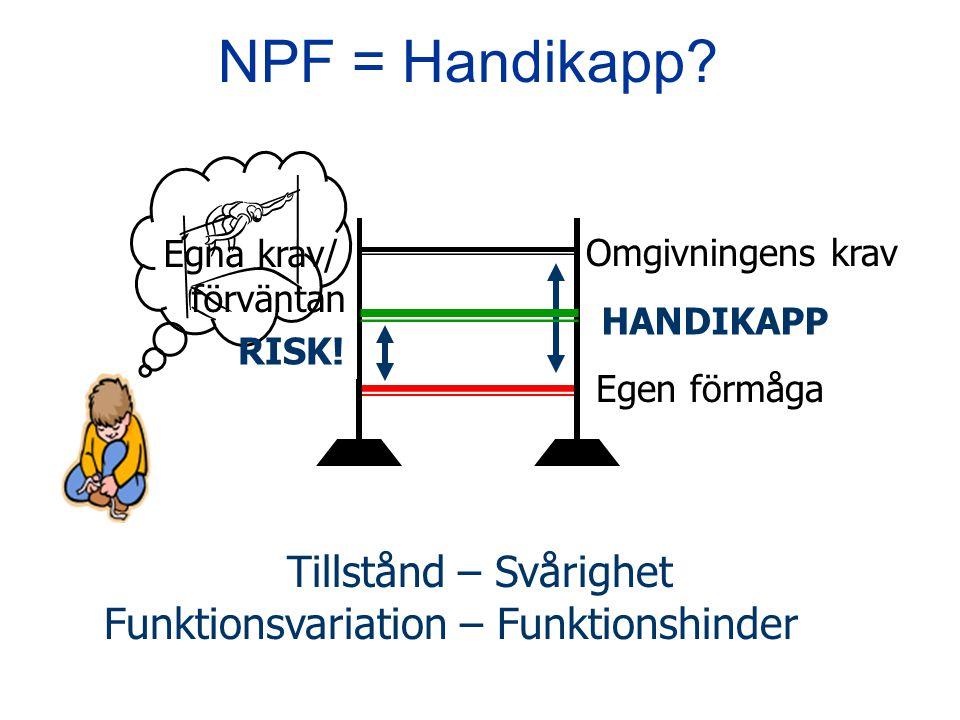 Omgivningens krav Egen förmåga HANDIKAPP NPF = Handikapp? Tillstånd – Svårighet Funktionsvariation – Funktionshinder Egna krav/ förväntan RISK!