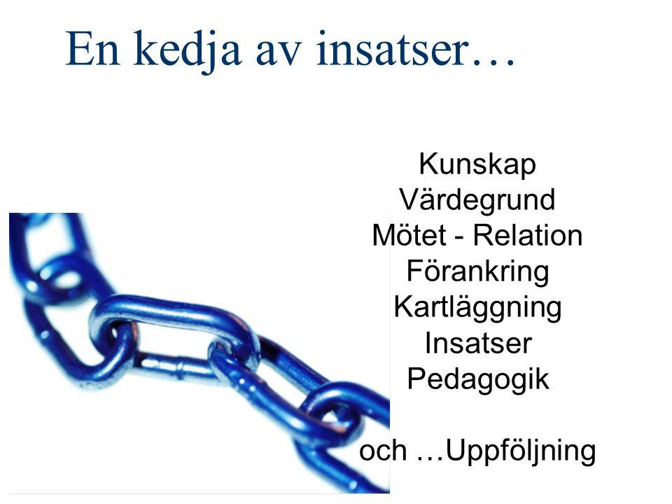 En kedja av insatser… Kunskap Värdegrund Mötet - Relation Förankring Kartläggning Insatser Pedagogik och …Uppföljning