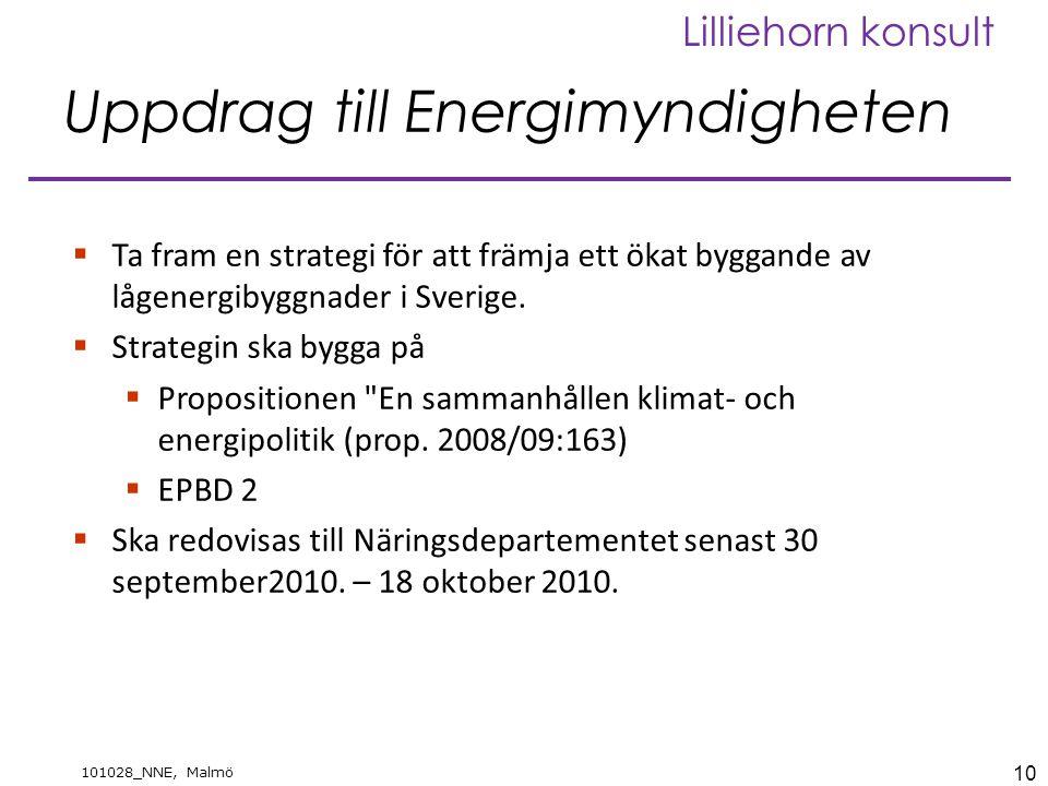 10 101028_NNE, Malmö Lilliehorn konsult Uppdrag till Energimyndigheten  Ta fram en strategi för att främja ett ökat byggande av lågenergibyggnader i