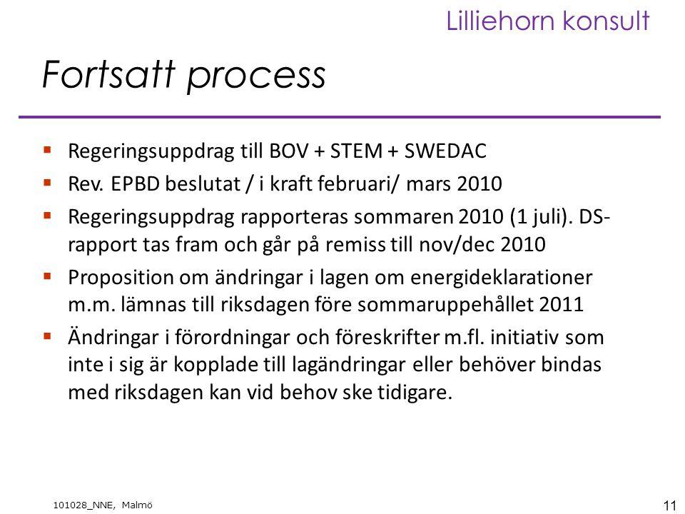 11 101028_NNE, Malmö Lilliehorn konsult Fortsatt process  Regeringsuppdrag till BOV + STEM + SWEDAC  Rev. EPBD beslutat / i kraft februari/ mars 201
