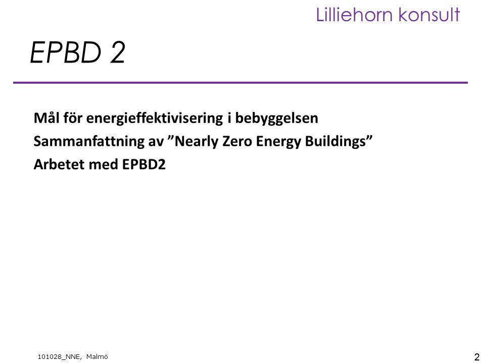 13 101028_NNE, Malmö Lilliehorn konsult Nybyggnad, ej elvärmda ZonIIIIII Bostäder756555 Lokaler, grund706050 Lokaler, tillägg353025 KWh/m 2, år