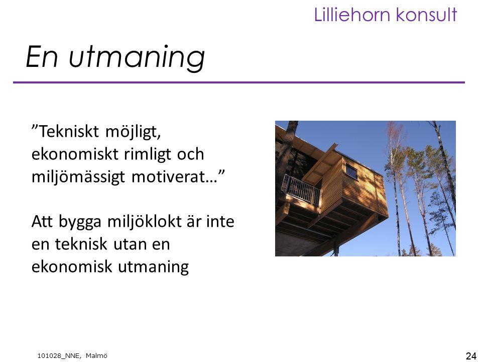 24 101028_NNE, Malmö Lilliehorn konsult En utmaning 24 Tekniskt möjligt, ekonomiskt rimligt och miljömässigt motiverat… Att bygga miljöklokt är inte en teknisk utan en ekonomisk utmaning