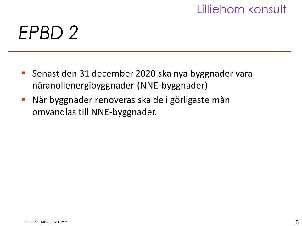 5 101028_NNE, Malmö Lilliehorn konsult EPBD 2  Senast den 31 december 2020 ska nya byggnader vara näranollenergibyggnader (NNE-byggnader)  När byggnader renoveras ska de i görligaste mån omvandlas till NNE-byggnader.
