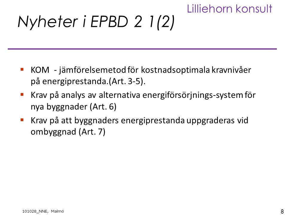 9 101028_NNE, Malmö Lilliehorn konsult Nyheter i EPBD 2 2(2) Krav på  Nya installationer i befintliga byggnader.(Art 8)  Efter 31 december 2020 ska alla nya byggnader vara lågenergibyggnader (Art 9)  Efter 31 december 2018 ska nya offentliga vara lågenergibyggnader (Art 9)  Utveckling/förtydliganden av energideklarationer (art 10 – 12)  Utvidgning av krav på inspektion/rådgivning värmesystem och luftkonditioneringssystem (art 14-15).