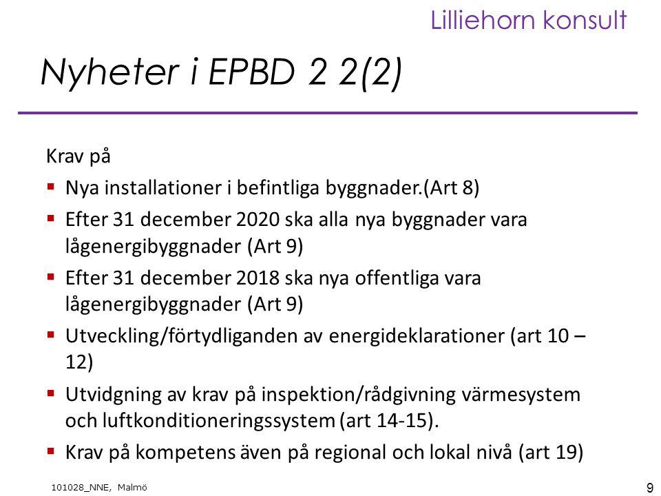 9 101028_NNE, Malmö Lilliehorn konsult Nyheter i EPBD 2 2(2) Krav på  Nya installationer i befintliga byggnader.(Art 8)  Efter 31 december 2020 ska