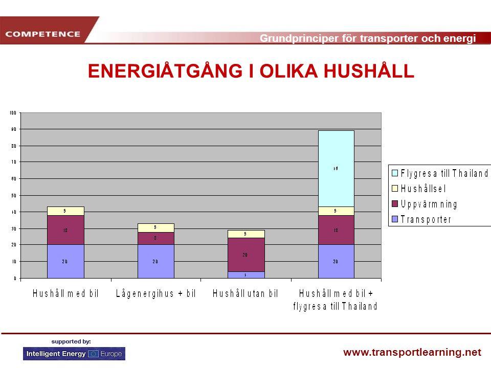 Grundprinciper för transporter och energi www.transportlearning.net ENERGIÅTGÅNG I OLIKA HUSHÅLL