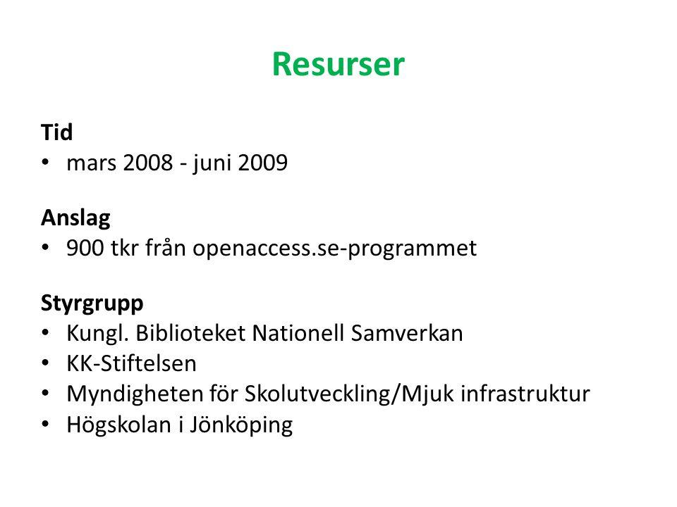 Aktiviteter Fyra delprojekt 1.Kartläggning av produktion och användning av OER 2.OER i digitala öppna arkiv 3.Användning av OER 4.Rapport och resultatspridning