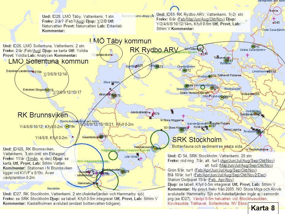 LMÖ Täby kommun LMÖ Sollentuna kommun SRK Stockholm Bottenfauna och sediment se nästa sida Und: ID125, RK Brunnsviken, Vattenkemi, 3 stn (inkl stn Ekhagen) Frekv: 11/år (1/mån, ej dec) Djup: se karta Utf, Provt, Lab: Sthlm Vatten Kommentar: Stationen i N Brunnsviken ligger vid KVVF's S19c.