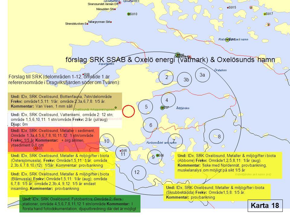 förslag SRK SSAB & Oxelö energi (våtmark) & Oxelösunds hamn Förslag till SRK (delområden 1-12, område 1 är referensområde i Dragviksfjärden söder om Tvären): Und: IDx, SRK Oxelösund, Bottenfauna, 7stn/delområde Frekv: område1,5,11: 1/år; område 2,3a,6,7,8: 1/5 år.