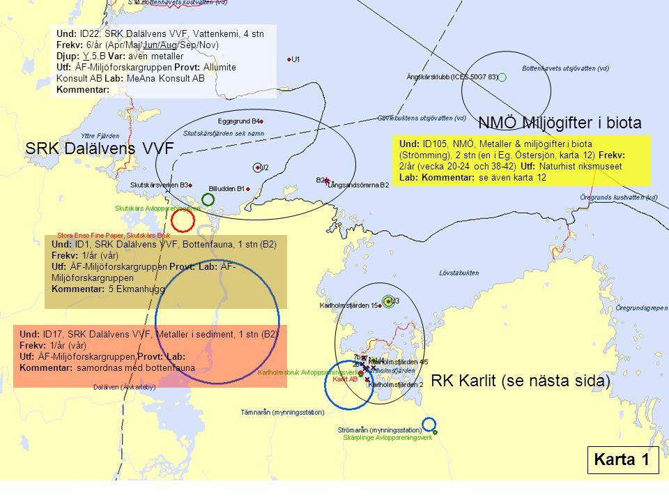 Und: ID22, SRK Dalälvens VVF, Vattenkemi, 4 stn Frekv: 6/år (Apr/Maj/Jun/Aug/Sep/Nov) Djup: Y,5,B Var: även metaller Utf: ÅF-Miljöforskargruppen Provt