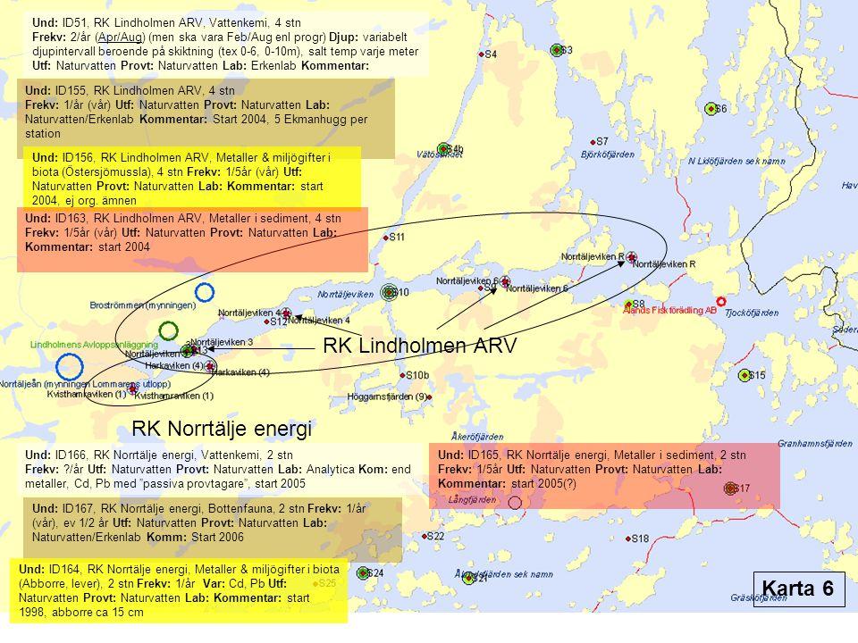 RK Lindholmen ARV RK Norrtälje energi Und: ID51, RK Lindholmen ARV, Vattenkemi, 4 stn Frekv: 2/år (Apr/Aug) (men ska vara Feb/Aug enl progr) Djup: var