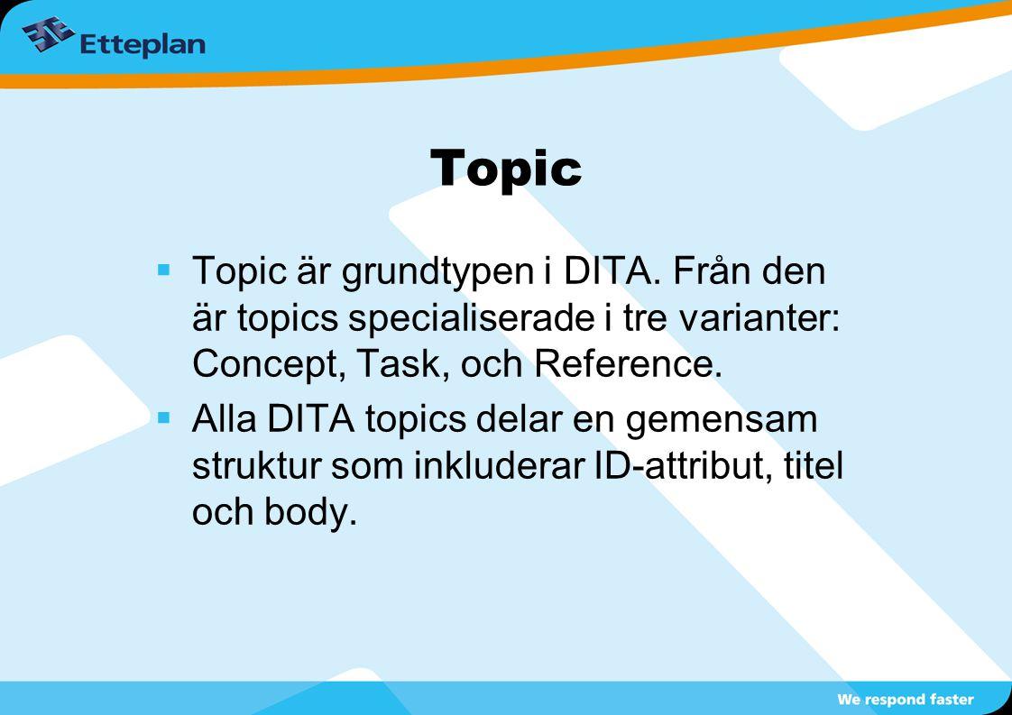 Topic  Topic är grundtypen i DITA. Från den är topics specialiserade i tre varianter: Concept, Task, och Reference.  Alla DITA topics delar en gemen