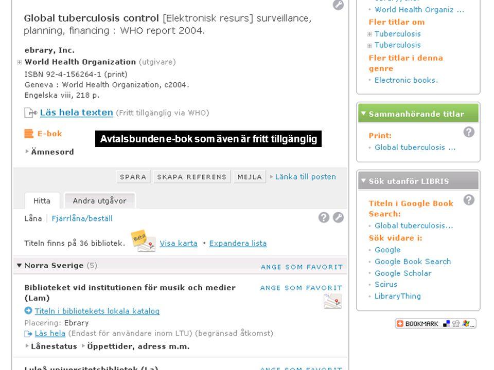 Avtalsbunden e-bok som även är fritt tillgänglig