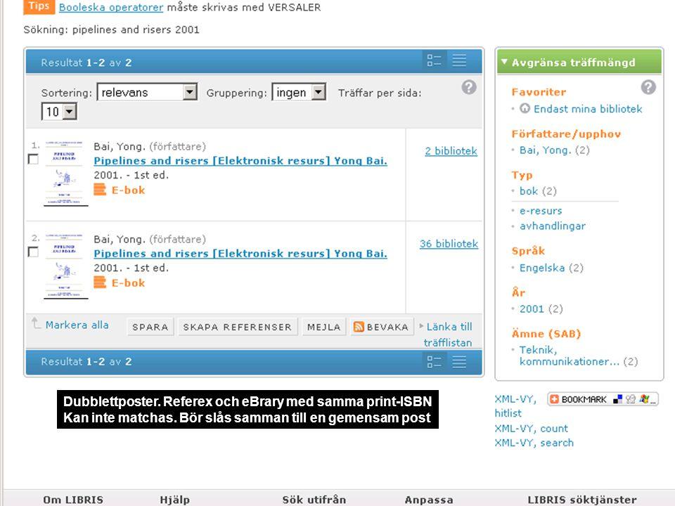 Dubblettposter. Referex och eBrary med samma print-ISBN Kan inte matchas.