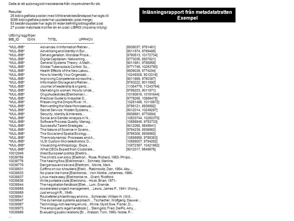 Detta är ett automagiskt meddelande från importrutinen för sfx Resultat: 25 bibliografiska post(er) med tillhörande beståndspost har lagts till 25 bibliografiska post(er) med tillhörande beståndspost har lagts till 5095 bibliografiska poster har uppdaterats (post-merge) 5095 bibliografiska poster har uppdaterats (post-merge) 53 beståndsposter har lagts till redan befintlig bibliografisk post 53 beståndsposter har lagts till redan befintlig bibliografisk post 27 poster matchade mot fler än en post i LIBRIS (import ej möjlig) 27 poster matchade mot fler än en post i LIBRIS (import ej möjlig) Utförlig logg följer: BIB_ID ISXN TITEL UPPHOV ------------------------------------------------------------------------------- *MUL-BIB* Advances in Information Retriev...