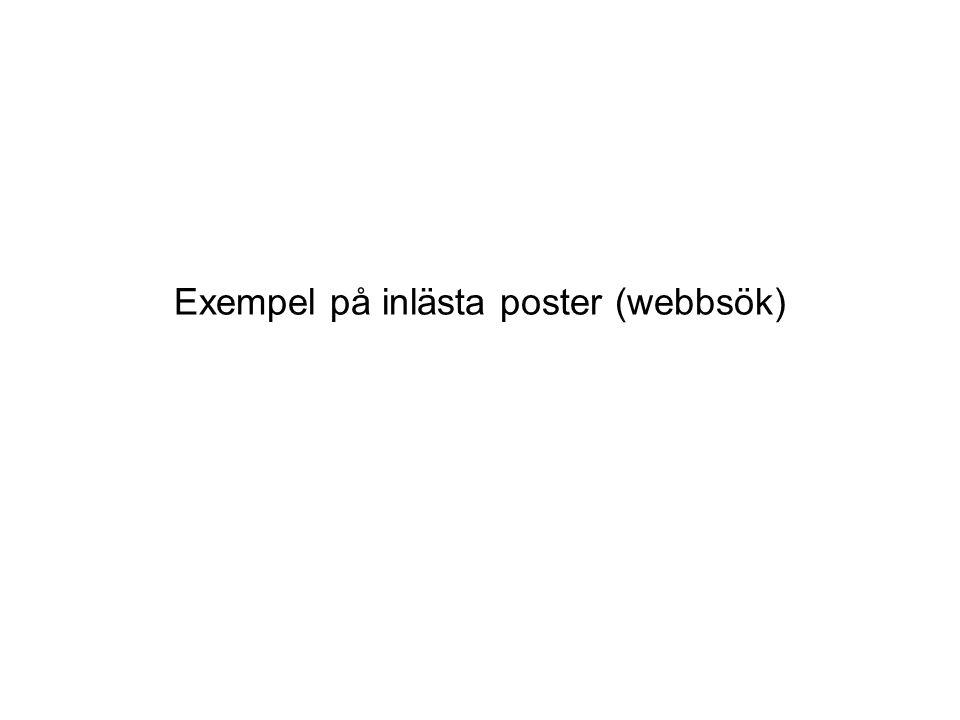 Exempel på inlästa poster (webbsök)