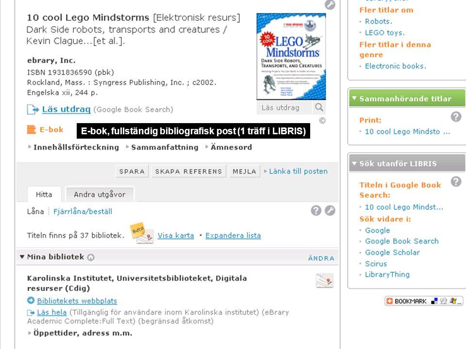 E-bok, fullständig bibliografisk post (1 träff i LIBRIS)