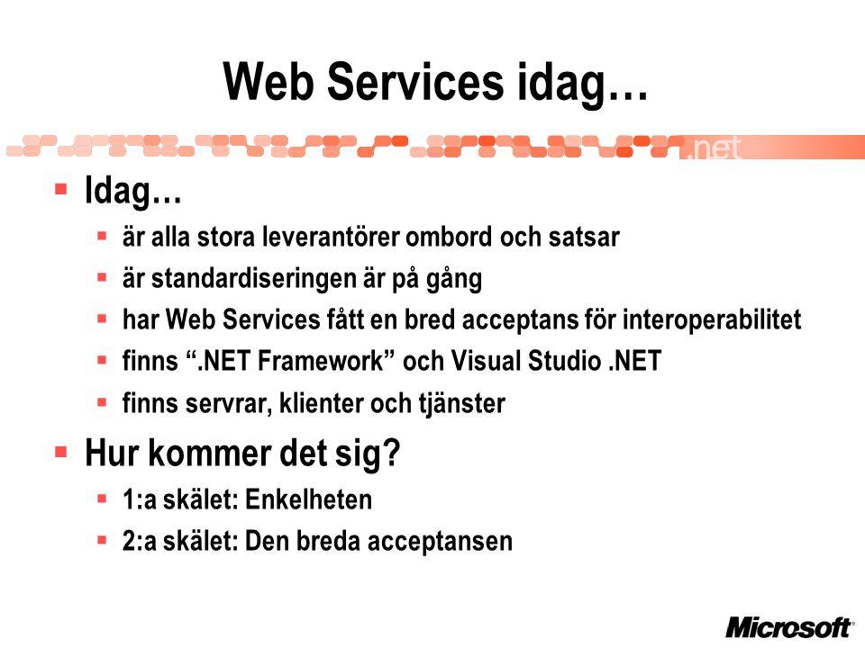 Web Services idag…  Idag…  är alla stora leverantörer ombord och satsar  är standardiseringen är på gång  har Web Services fått en bred acceptans för interoperabilitet  finns .NET Framework och Visual Studio.NET  finns servrar, klienter och tjänster  Hur kommer det sig.