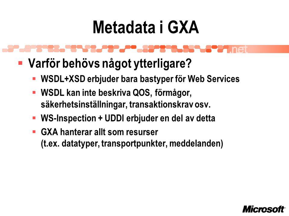 Metadata i GXA  Varför behövs något ytterligare.