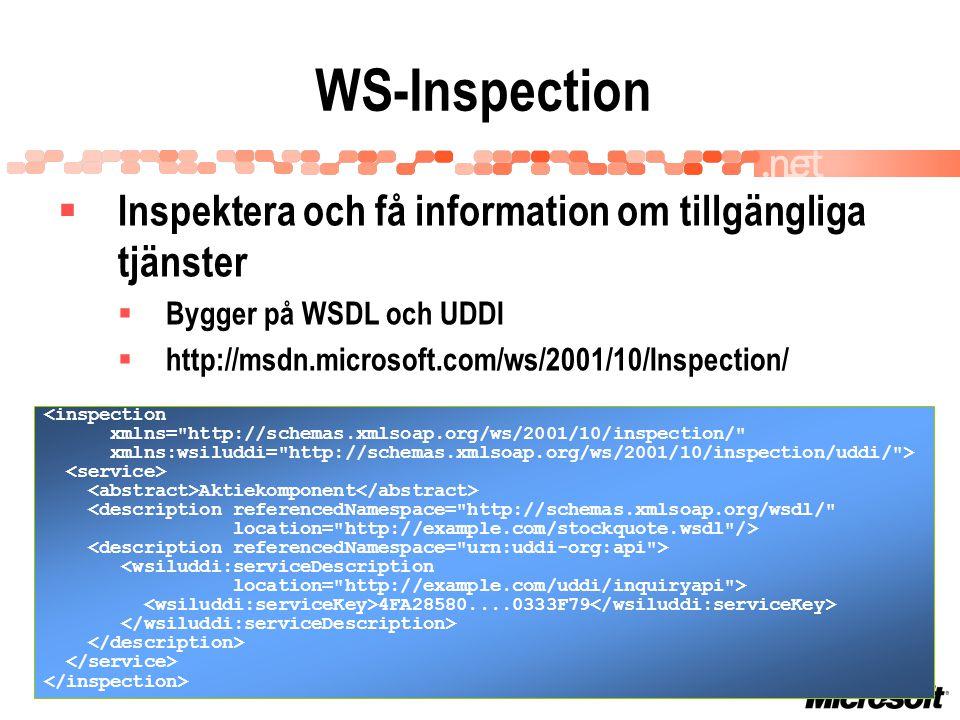 WS-Inspection  Inspektera och få information om tillgängliga tjänster  Bygger på WSDL och UDDI  http://msdn.microsoft.com/ws/2001/10/Inspection/ <inspection xmlns= http://schemas.xmlsoap.org/ws/2001/10/inspection/ xmlns:wsiluddi= http://schemas.xmlsoap.org/ws/2001/10/inspection/uddi/ > Aktiekomponent <description referencedNamespace= http://schemas.xmlsoap.org/wsdl/ location= http://example.com/stockquote.wsdl /> 4FA28580....0333F79