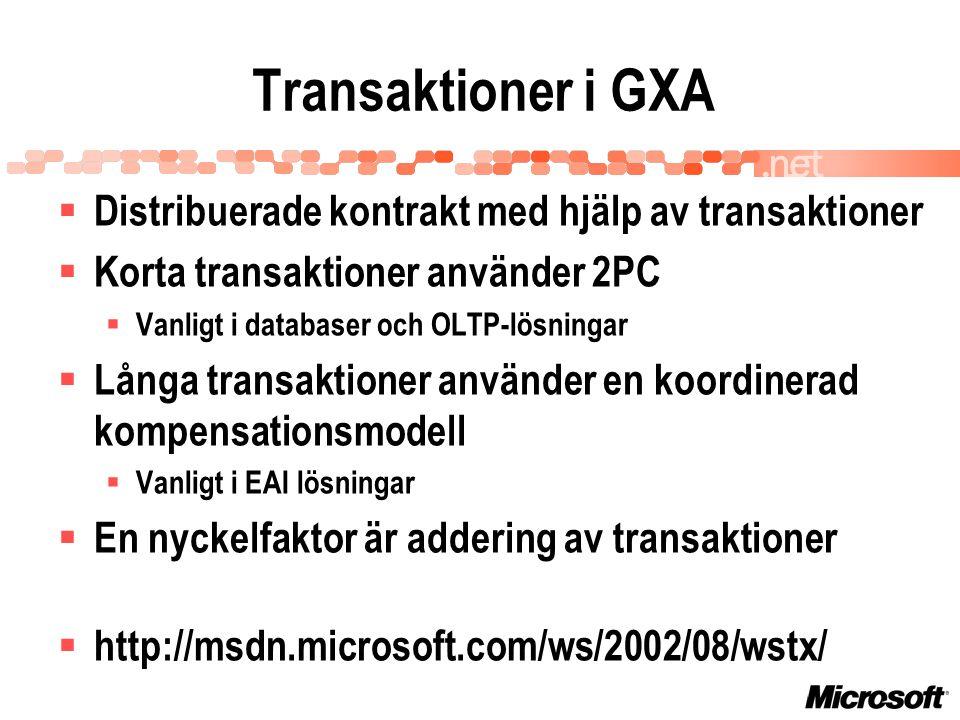 Transaktioner i GXA  Distribuerade kontrakt med hjälp av transaktioner  Korta transaktioner använder 2PC  Vanligt i databaser och OLTP-lösningar  Långa transaktioner använder en koordinerad kompensationsmodell  Vanligt i EAI lösningar  En nyckelfaktor är addering av transaktioner  http://msdn.microsoft.com/ws/2002/08/wstx/