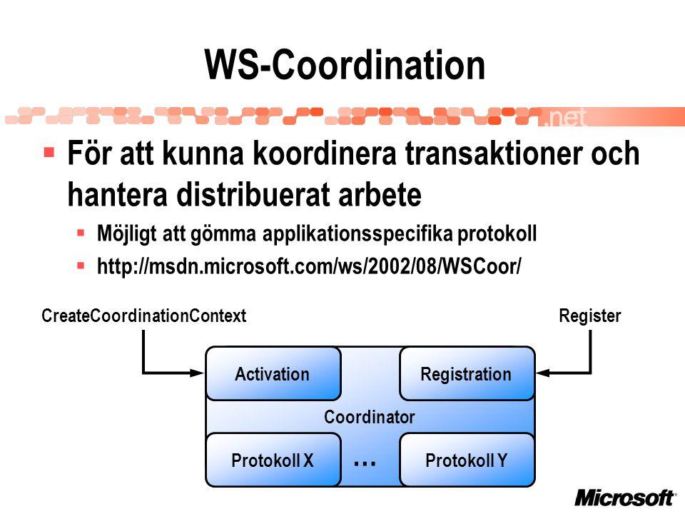 WS-Coordination Coordinator ActivationRegistration Protokoll YProtokoll X … CreateCoordinationContextRegister  För att kunna koordinera transaktioner och hantera distribuerat arbete  Möjligt att gömma applikationsspecifika protokoll  http://msdn.microsoft.com/ws/2002/08/WSCoor/