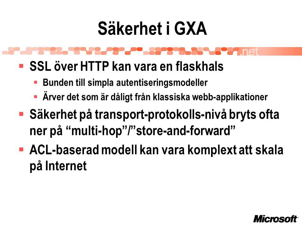 Säkerhet i GXA  SSL över HTTP kan vara en flaskhals  Bunden till simpla autentiseringsmodeller  Ärver det som är dåligt från klassiska webb-applikationer  Säkerhet på transport-protokolls-nivå bryts ofta ner på multi-hop / store-and-forward  ACL-baserad modell kan vara komplext att skala på Internet