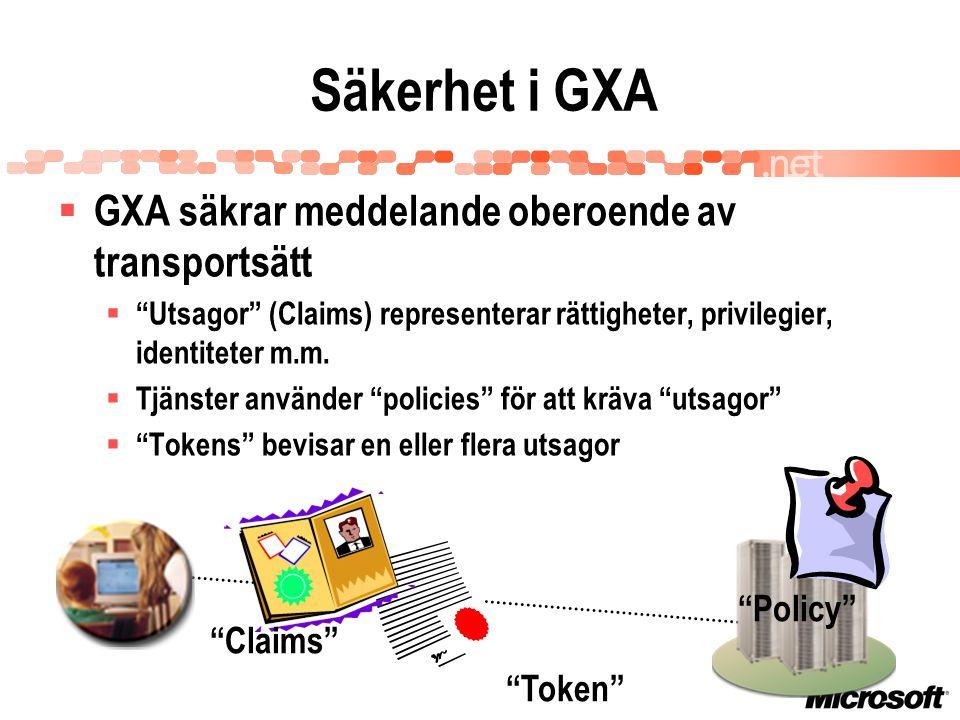 Säkerhet i GXA Policy Claims Token  GXA säkrar meddelande oberoende av transportsätt  Utsagor (Claims) representerar rättigheter, privilegier, identiteter m.m.