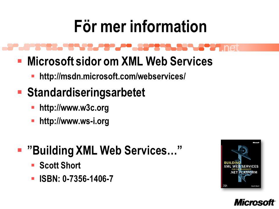 För mer information  Microsoft sidor om XML Web Services  http://msdn.microsoft.com/webservices/  Standardiseringsarbetet  http://www.w3c.org  http://www.ws-i.org  Building XML Web Services…  Scott Short  ISBN: 0-7356-1406-7