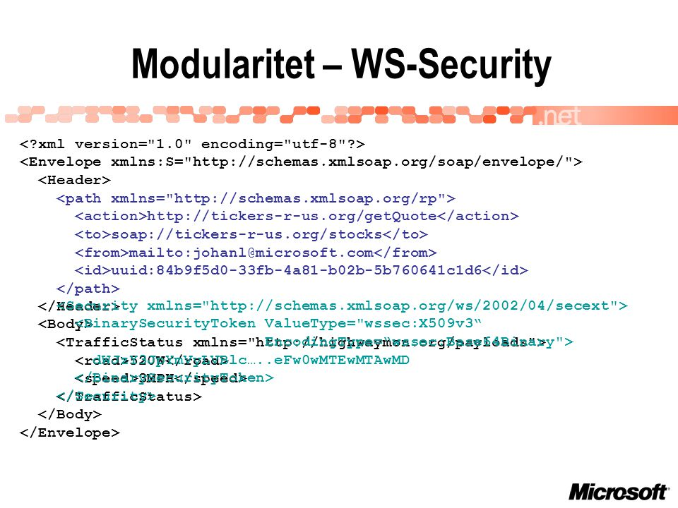 Modularitet – WS-Security 520W 3MPH http://tickers-r-us.org/getQuote soap://tickers-r-us.org/stocks mailto:johanl@microsoft.com uuid:84b9f5d0-33fb-4a8