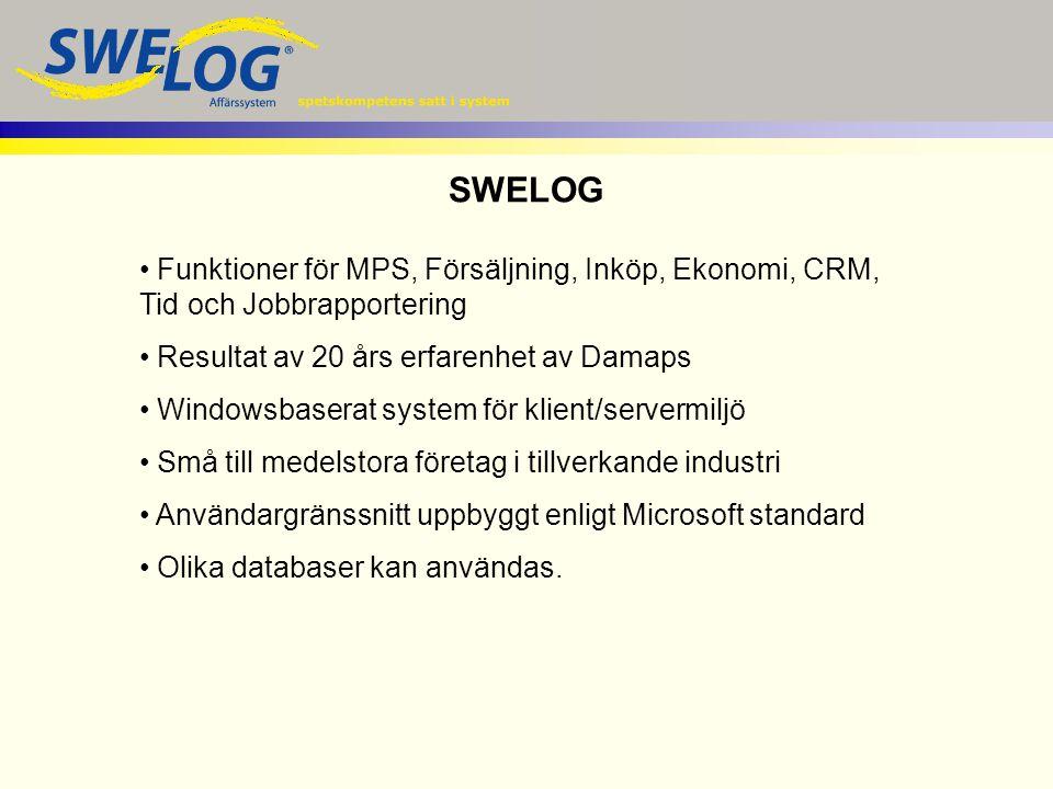 Funktioner för MPS, Försäljning, Inköp, Ekonomi, CRM, Tid och Jobbrapportering Resultat av 20 års erfarenhet av Damaps Windowsbaserat system för klien