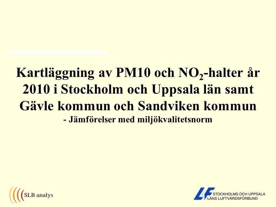 Kartläggning av PM10 och NO 2 -halter år 2010 i Stockholm och Uppsala län samt Gävle kommun och Sandviken kommun - Jämförelser med miljökvalitetsnorm