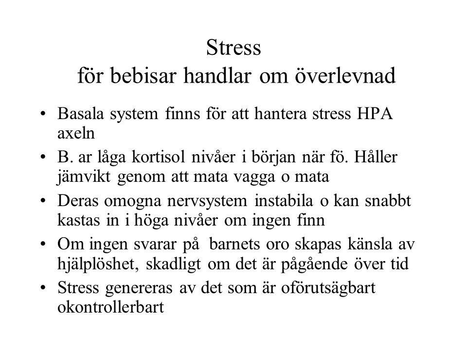 Stress för bebisar handlar om överlevnad Basala system finns för att hantera stress HPA axeln B. ar låga kortisol nivåer i början när fö. Håller jämvi