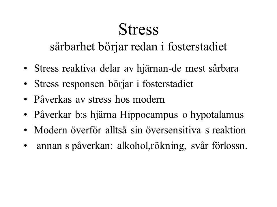 Stress sårbarhet börjar redan i fosterstadiet Stress reaktiva delar av hjärnan-de mest sårbara Stress responsen börjar i fosterstadiet Påverkas av str